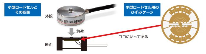 小型ロードセルとその断面、小型ロードセル用のひずみゲージ